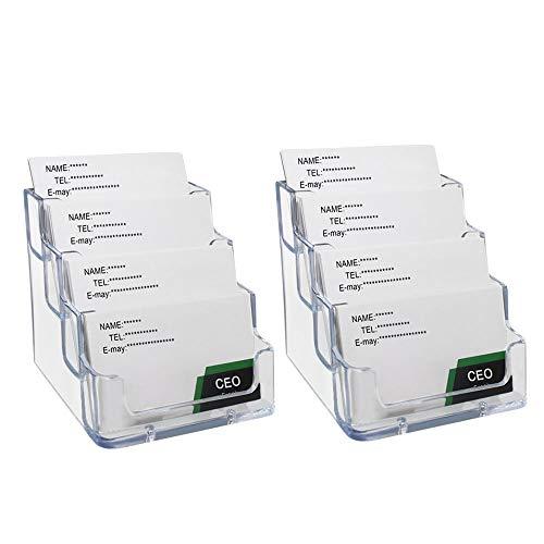 2 Pack Transparent 4-Tier Business Card Holder Acrylic Card Display Desk Stand Holder