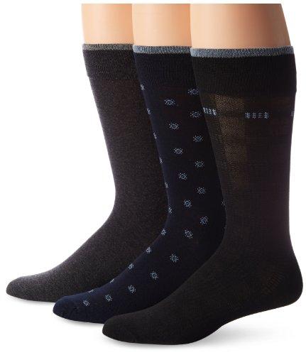 Cole Haan Men's Retro Geo 3-Pack Dress Socks, Navy/Dark Grey Heather/Black, One Size (Navy Cole Haan compare prices)