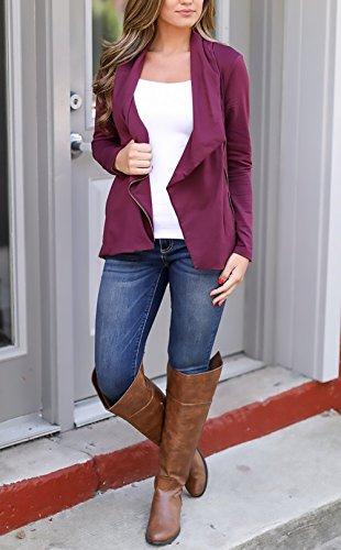 Slim E Casual Classica Colore Giacche Cappotto Grazioso Puro Manica Fit Con Bavero Giacca Purple Cerniera Zip Inverno Elegante Women Giubbotto Giovane Donna Irregolare Lunga Ragazze Tasche Cappotti Autunno RaxAqfww