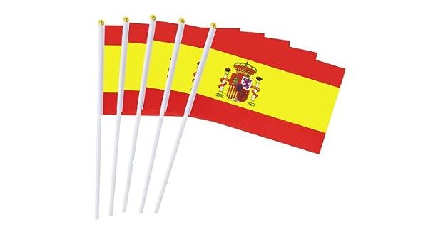 España Banderas de Mano Nacional 50 PCS 14 x 21CM,Mini Banderas Pequeñas de País de España,(Resistente a la Intemperie): Amazon.es: Hogar