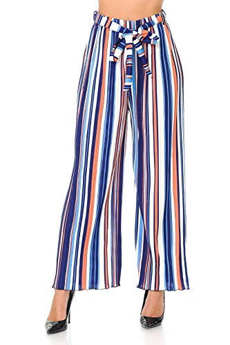 Auliné Collection Womens Accordion Pleated High Waisted Wide Leg Palazzo Pants - Orange Vanilla Stripe S/M
