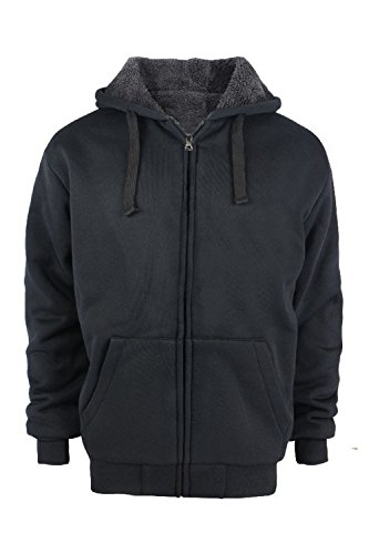 UPC 714929866448, Heavyweight Sherpa Lined Plus sizes Warm Fleece Full Zip Mens Hoodie with Padded Sleeve & Rib cuffs