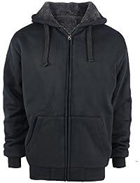 Heavyweight Sherpa Lined Plus Sizes Warm Fleece Full Zip Mens Hoodie With Padded Sleeve & Rib Cuffs