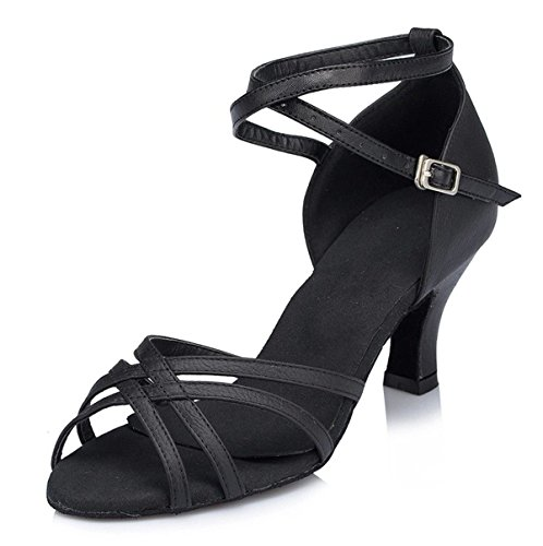 EU40 Dance Ferse DQuietness Our41 Tanz Salsa Strappy Womens Chunky Wildleder 5 Fashion Tango Latin UK6 Leder Schuhe Schnalle Black Ballsaal Kuh Sandalen Frauen Knöchel wwBxC4