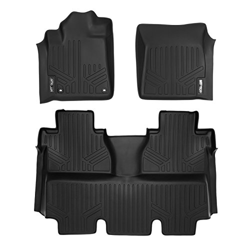 MAXFLOORMAT Floor Mats 2 Row Set Black for 2014-2018 Toyota Tundra CrewMax Cab (With Coverage Under 2nd Row Seat)