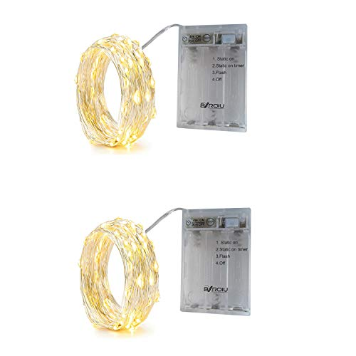 BXROIU 2 x Fairy String Lights Battery Operated, Silver Wire 3 Mode Chains with Timer 6.5ft 20 LEDs Firefly String Lights for Bedroom Christmas Party Wedding Decoration (Warm White)