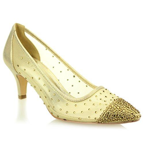 Gold Bridal Champagne Evening Party Women Low Ladies Court Aarz Shoes Silver Prom Diamante Heel Gold Size Wedding Sandal Black PfUwxTx1