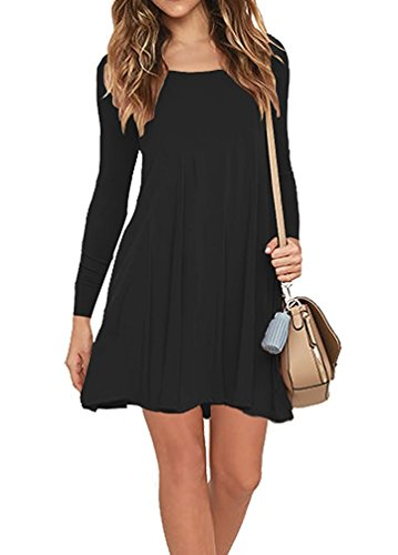AUSELILY Women's Round Neck Long Sleeve A-Line Plain Simple T-Shirt Swing Dress With Pockets (L, Long Sleeve-Black)