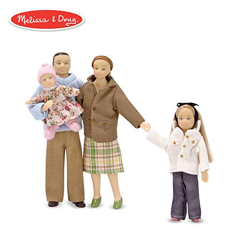 Melissa & Doug Victorian Doll Family, Dollhouse Accessories (4 Poseable Play Figures, 1:12 Scale)