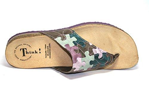 Think! - Pantuflas Mujer Braun (kred/kombi 23)