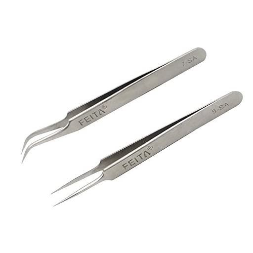 Eyelash Tweezers - FEITA Precision Eyelash Extension Tweezers Set - Professional Straight & Curved Pointed Very Fine Tip Tweezers for Lash Extensions - Silver - 2Pcs