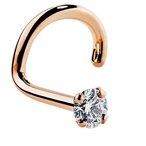 - FreshTrends 1.5mm 0.015 ct. tw Diamond 14K Rose Gold Nose Ring Twist Screw 20G I1