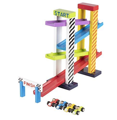 (Juvale Car Ramp Race Track Toy Set - 4-Level Racing Ramp with 4 Wooden Mini Racer Cars, Multicolored and Pre-Assembled, for Kids and Toddlers)