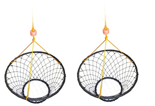 2-Pack of KUFA Vinyl Coated steel ring crab trap (Size:30) with 50' rope CT90x2