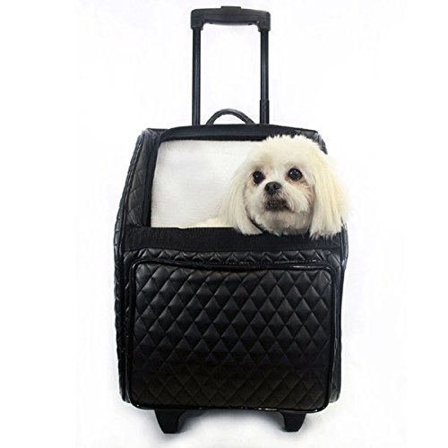 Petote Rio Bag on Wheels Pet Carrier, Black Quilted by Petote