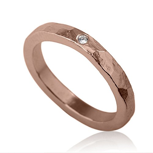 Amazon Com 14k Rose Red Gold Engagement Ring Wedding Band With A Single Diamond Handmade