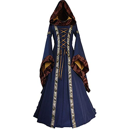 Halloween Women Medieval Dress Renaissance Lace Up Vintage Style Gothic Dress Floor Length Women Hooded Cosplay Dresses Retro (Blue B, L) -