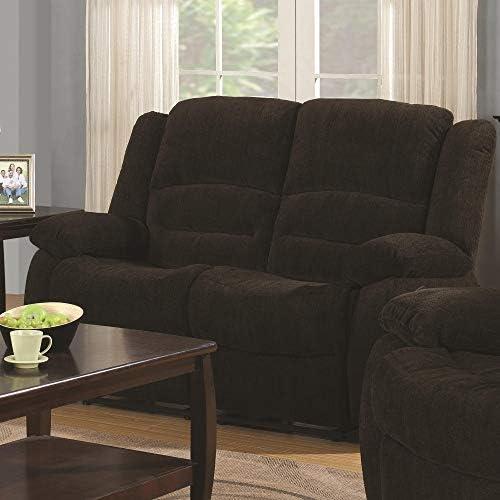 Benjara Benzara Fabric Upholstered Recliner Loveseat, Brown,