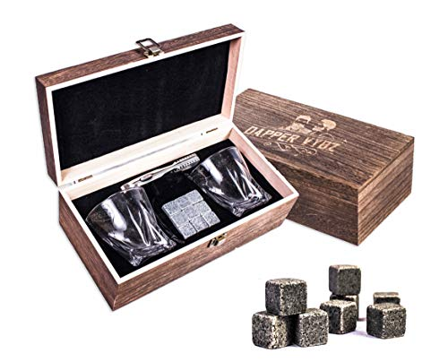 Dapper Vybz Whiskey Stones and Glasses Gift Set - 9 Reusable Whiskey Rocks - 2 Large Crystal Glasses Packaged in Elegant Display Case - Chills Scotch, Bourbon, or Drink Without Diluting Water