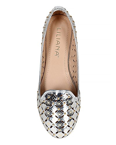Liliana Ck13 Donna In Similpelle Metallizzata Con Borchie Perfette Slip On Flat - Silver