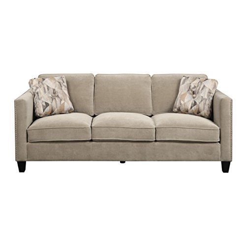 Emerald Home Focus Granite Sofa, with Pillows, Easy Clean Microfiber Upholstery, Nailhead Trim, And Straight Arms (Sofas With Trim Nailhead Microfiber)