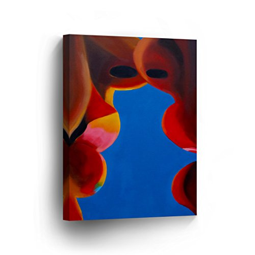 Gay Lesbian Woman Kissing Oil Painting CANVAS PRINT Sexy Wall Art Lips Decorative Red Lips Decor Artwork Wrapped Stretcher Bars - Ready To Hang %100 Handmade in the USA - CA by Smile Art Design