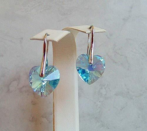 Aqua Blue Heart Crystal Earrings Simulated Aquamarine Aurora Borealis March Birthstone Gift Idea RP