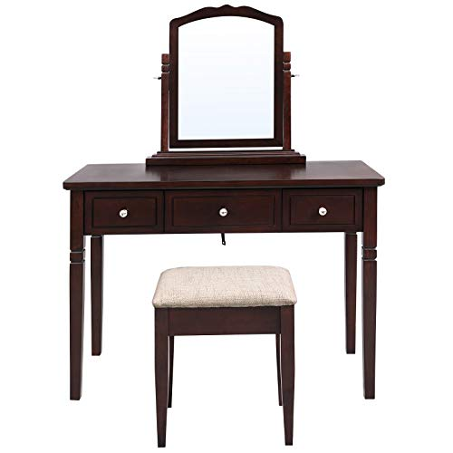 VASAGLE Vanity Set with 3 Big Drawers, Dressing Table with 1 Stool, Makeup Desk with Large Rotating Mirror, Multifunctional, Easy to Assemble, Wood Grain Surface, Brown