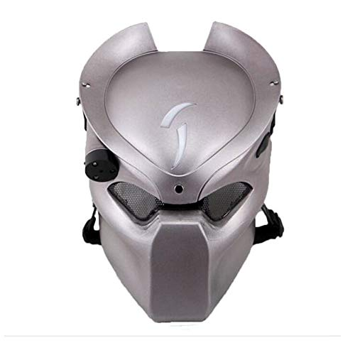 Ballistic Game Halloween (ATAIRSOFT Tactical Protective Airsoft Metal mesh Alien Full Face Mask with Lamp)
