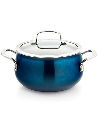 Belgique 3-Quart Nonstick Aluminum Soup Pot with Glass Lid, Blue