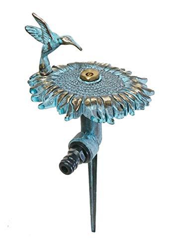 (Brass Decorative Lawn & Garden Sprinkler - Sunflower with a Hummingbird)