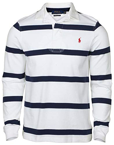 Polo RL Men's Rugby Custom Slim Fit LS Shirt-White Multi-Medium