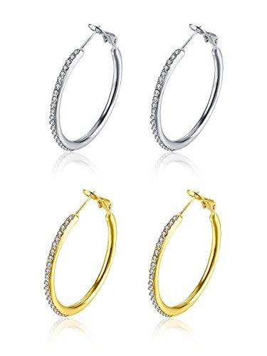 35mm Huggie Circle CZ Hoop Earrings, Hypoallergenic Stainless Steel Cubic Zirconia Rhinestone Crystal Round Stud Hoops For Women Girls Sensitive ears (Silver+Gold) -