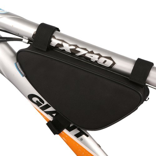 Ellen Tool Tube Bike Pouch Bicycle Bag Water Resistant Polyester Triangle Front Pouch Kit for Easy Access and Smooth Storage for Wallet, Cellphones, Snacks etc. - Safety Biking Black (Bike Pouch)