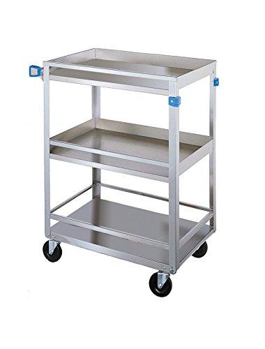 Lakeside 316 Guard Rail Utility Cart, 3 Shelves, Stainless Steel, 300 lb Capacity, 16-1/4