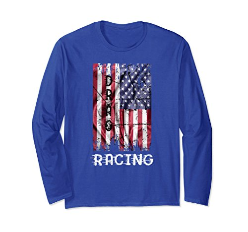 Racing Flags Shirt (Unisex Drag Racing Distressed American Flag T Shirt Medium Royal Blue)