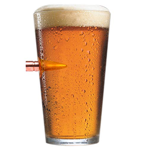 .50 Caliber Real Solid Copper Projectile Hand Blown Pint ()