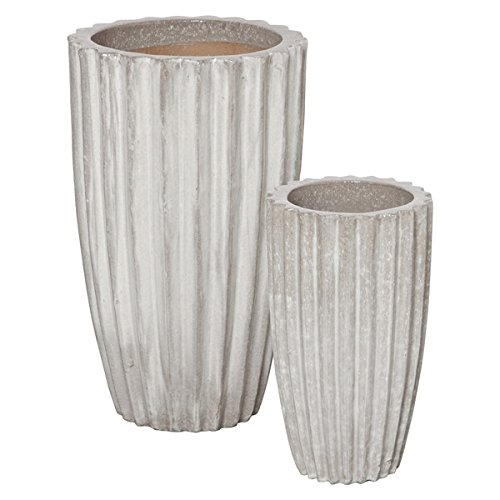 Grooved Ceramic Planters - Antique White & Grey (set of 2)