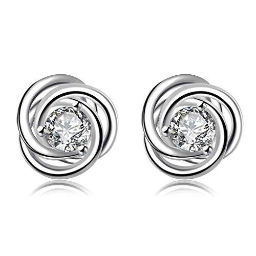 fonk: Fashion Design silver 925 earing Inlaid crystal rotation stud pendientes to.us bear bijoux