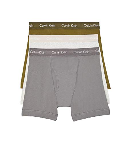Calvin Klein Men's Cotton Classics Multipack Boxer Briefs, Snow Heather/Lincoln Green/Grey Smoke, L
