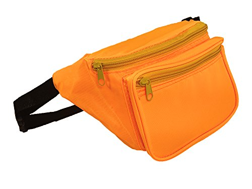 Vibrant Fannie Bag is Black Light UV Reactive and Glows (Orange)