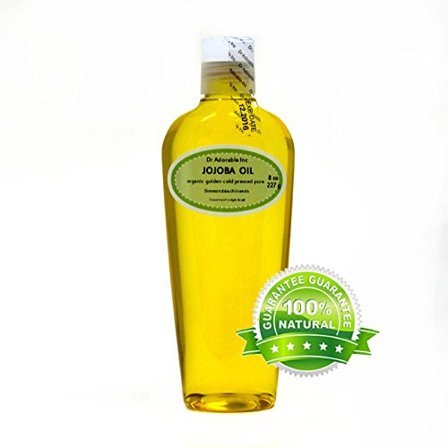 Pure 8 Oz. Jojoba Oil Organic Golden Cold Pressed/Unrefined Jojoba oil Comes From The Beans of The Shrub Like Plant, Simmondsia Chinensis