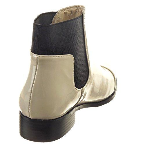 Sopily - Scarpe da Moda Stivaletti - Scarponcini Chelsea Boots donna lucide Tacco a blocco 3 CM - Beige