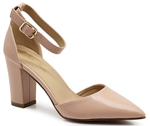 Ivanka Women's Pointy Toe High Mid Chunky Block Heel Sexy Ankle Strap Sandals Ballerina Dress Pump Ballet Wedding Patent Harlow Pump Shoes (7 B(M) US, Nude PU)