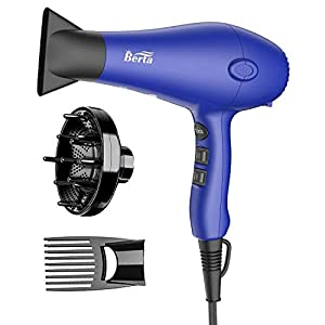 1875W Professional Ionic Salon Hair Dryer, DC Motor Ionic quiet Blow Dryer with 2 Speed 3 Heat Settings Cool Button, Concentrator & Diffuser & Styling Pik Comb