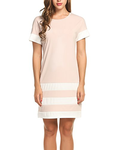 Meaneor Women Short Sleeve Crewneck Contrast Color Colorblock Sheath Shift Dress