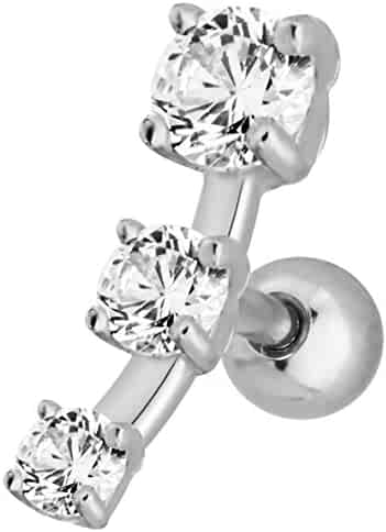16g 1/4 Inch Surgical Steel Triple CZ Crystal Curved Cartilage Stud Earring