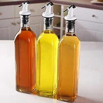 Dispensador 500 Ml De Aceite De Oliva, Aceite De Hierba De Vidrio Condimento Botella, Tanque De Aceite Sellado,3 Pack: Amazon.es: Hogar