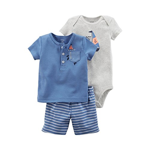 Carter's Baby Boys' 0M-9M 3 Piece Sailboat Bodysuit Little Shorts Set