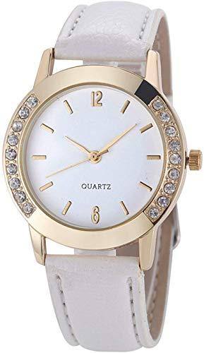 Women's Diamond Crystal Rhinestone Leather Quartz Wrist Watch White